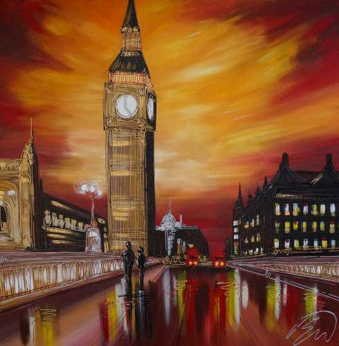 Fiery Skies Over Westminster 40x40