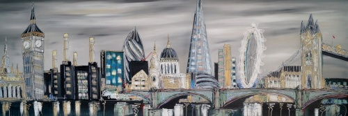 London Montage grey skies 72x24