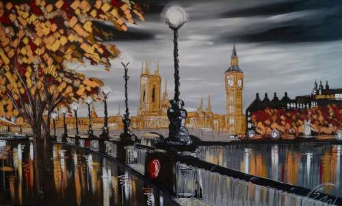 Silver Skies Over London 36x60