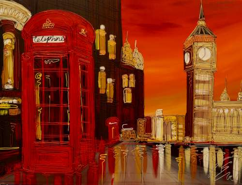 Sunset Reflections at Westminster 30x40