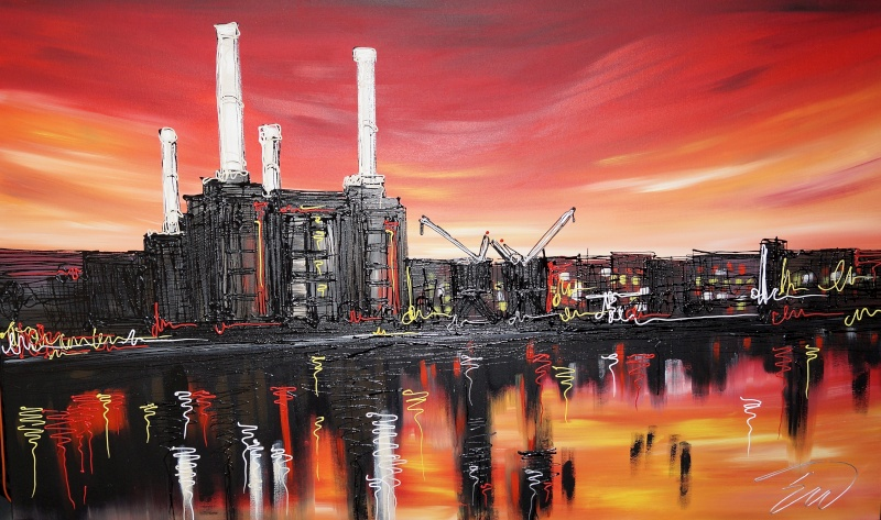 Sunset over Battersea 30x40