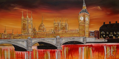 Sunset over Parliment 24x48