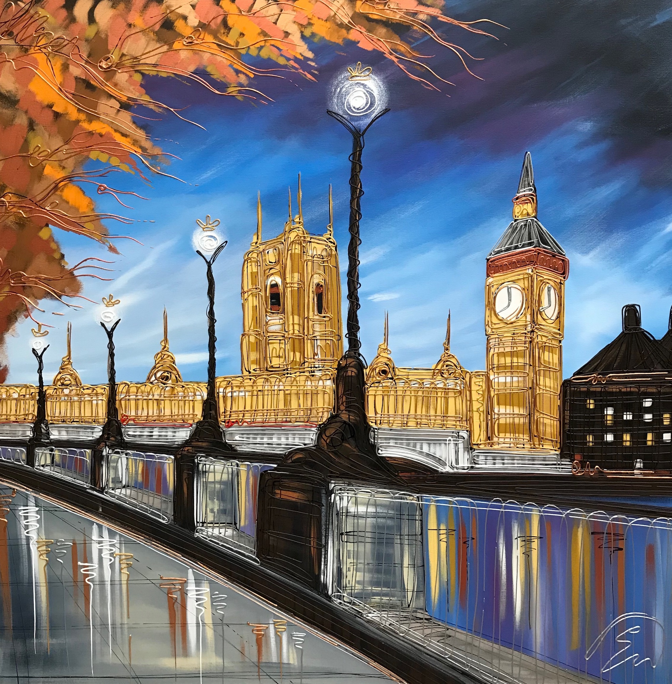 Golden Reflections of Big Ben 40x40