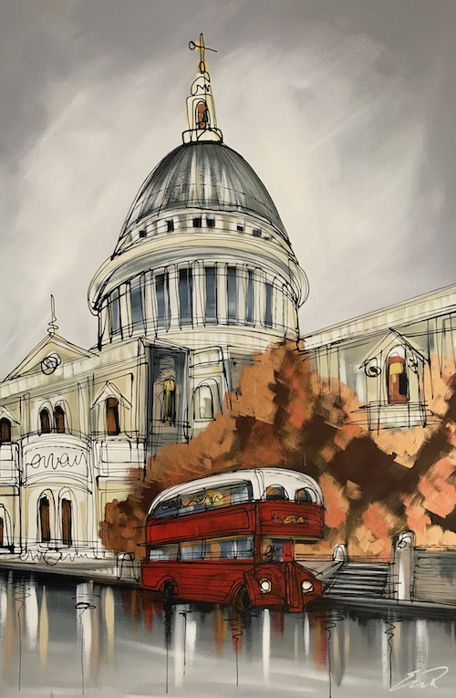Routemaster through London Resin Series 24x36