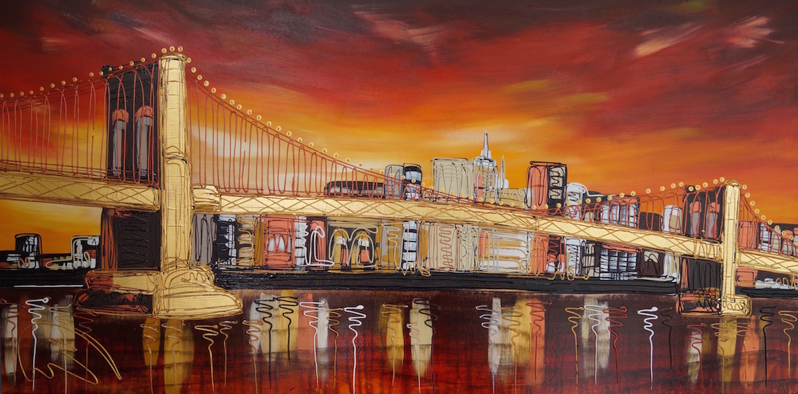 The Golden Structure of Brooklyn Bridge 24x48