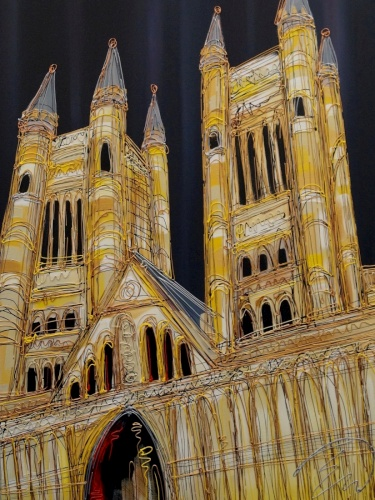 Lincoln Catherdral At Night 30x40