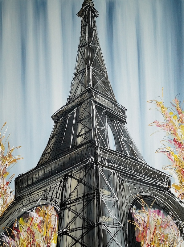 Looking up at the Eiffel Tower 30x40